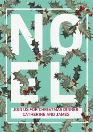 Greeting Cards - Holly Floral Graphic Noel Christmas Party Invitation Card - Image 1