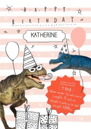T Rex Dinosaur And Pink Striped Personalised Birthday Card