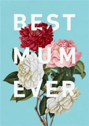 Greeting Cards - Mother's Day Card - Best Mum Ever - Floral Card - Image 1