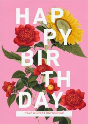 Pretty Flowers Personalised Happy Birthday Card