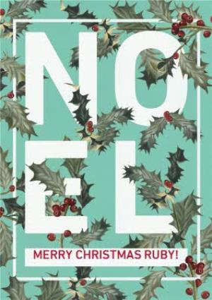 Greeting Cards - Holly Floral Graphic Noel Personalised Christmas Card - Image 1