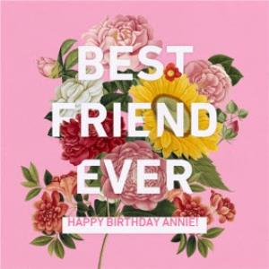 Greeting Cards - Best Friend Pink Birthday Personalised Card - Image 1