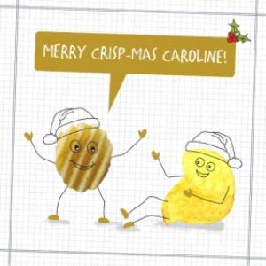 Greeting Cards - Merry Crisp-Mas Personalised Christmas Card - Image 1