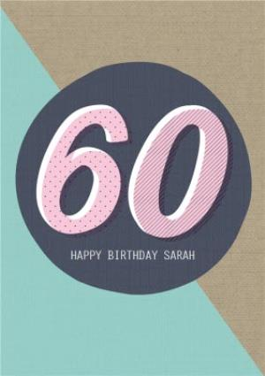 Personalised Text 60Th Birthday Card