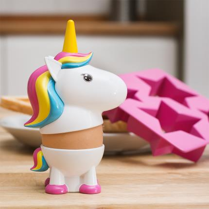 Gadgets & Novelties - Rainbow Unicorn Egg Cup & Toast Cutter Breakfast Set - Image 1