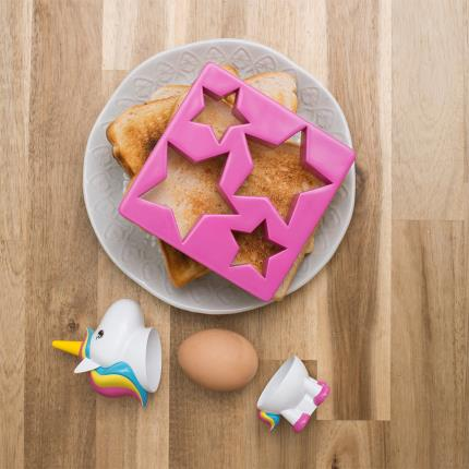 Gadgets & Novelties - Rainbow Unicorn Egg Cup & Toast Cutter Breakfast Set - Image 3