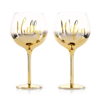 Gifts For Home - Hubby & Wifey Glasses - Image 1