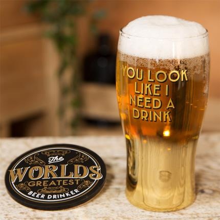 Gadgets & Novelties - Brewmaster Beer Glass & Coaster - Need A Drink - Image 2