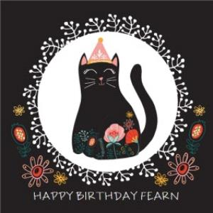 Greeting Cards - Black Kitty Cat Personalised Name Happy Birthday Card - Image 1