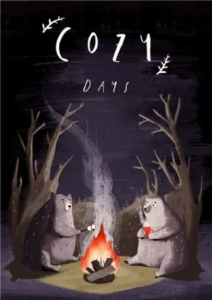Greeting Cards - Bears Around The Campfire Cozy Date Card - Image 1