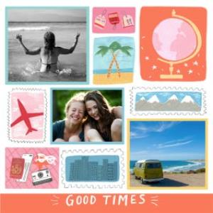 Greeting Cards -  Birthday Card - photo upload card - good times - adventures - illustration - Image 1