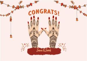 Greeting Cards - Asian Henna Wedding Card  - Image 1