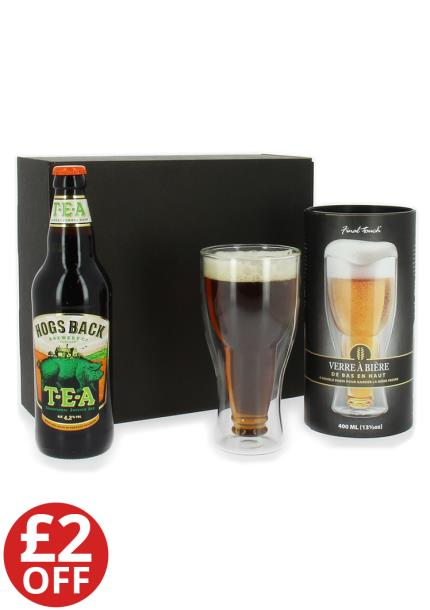 Alcohol Gifts - Hogs Back Beer & Bottoms Up Beer Glass Set - WAS £20 NOW £18 - Image 1
