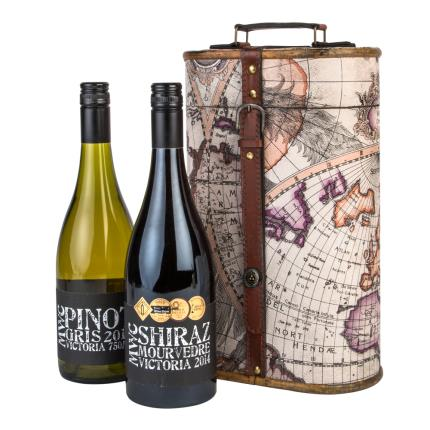 Alcohol Gifts - Moonstruck Wine Duo With Map Gift Case - WAS £40 NOW £30 - Image 1
