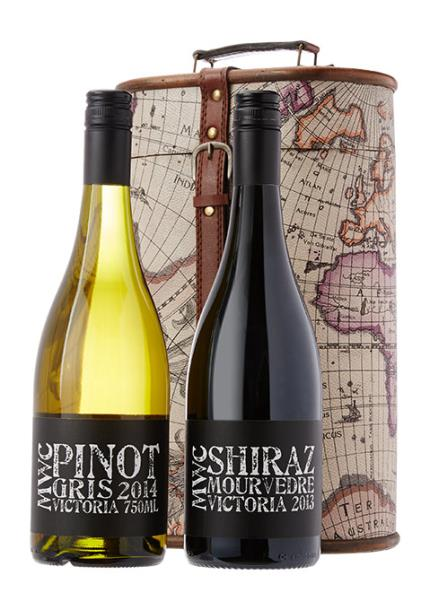 Alcohol Gifts - Moonstruck Wine Duo with Map Gift Case - NEW! - Image 1