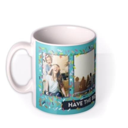 Mugs - Bright Teal And Confetti Photo And Personalised Text Mug - Image 1