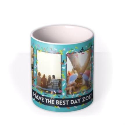 Mugs - Bright Teal And Confetti Photo And Personalised Text Mug - Image 3