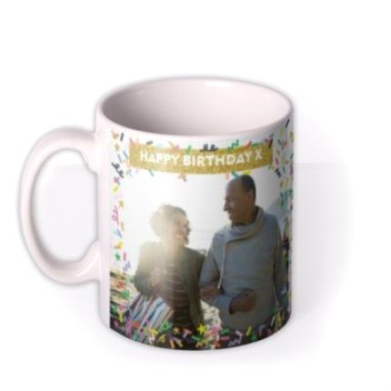 Mugs - Neon Confetti And Metallic Gold Banner Photo Mug - Image 1