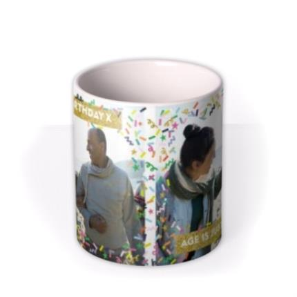 Mugs - Neon Confetti And Metallic Gold Banner Photo Mug - Image 3