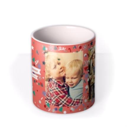 Mugs - Merry Christmas Orange Photo Upload Mug - Image 3