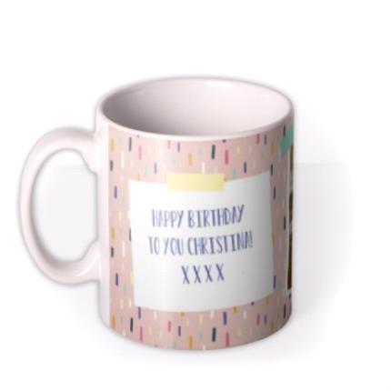 Mugs - Pretty Pastel Design Photo Happy Birthday Mug - Image 1