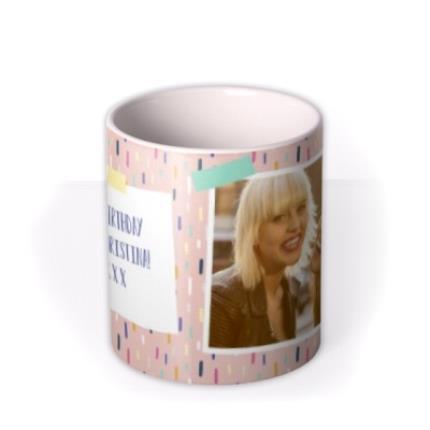 Mugs - Pretty Pastel Design Photo Happy Birthday Mug - Image 3