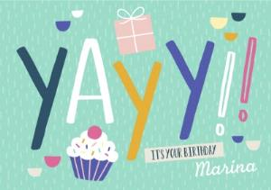 Greeting Cards - Big Colourful Letters Yayy!! Its Your Birthday Card - Image 1