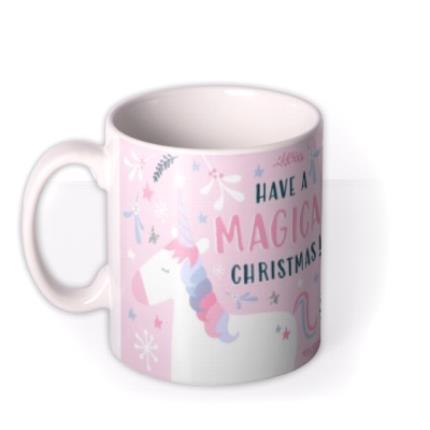 Mugs - Christmas Pink Magical Unicorn Photo Upload Mug - Image 1