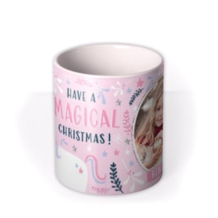 Mugs - Christmas Pink Magical Unicorn Photo Upload Mug - Image 3