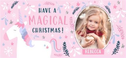 Mugs - Christmas Pink Magical Unicorn Photo Upload Mug - Image 4