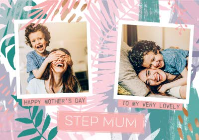 Greeting Cards - Pastel Tropical Print To My Step Mum On Mother's Day Photo Card - Image 1