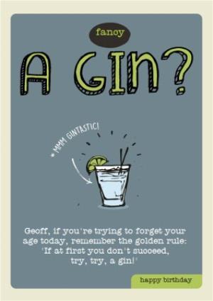 Fancy A Gin Personalised Happy Birthday Card