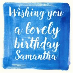 Greeting Cards - Blue Watercolour And Brushscript Personalised Birthday Card - Image 1