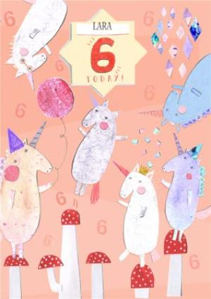 Unicorns Personalised Happy 6th Birthday Card
