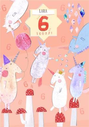Unicorns Personalised Happy 6th Birthday Card