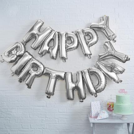 Party - Ginger Ray Silver Happy Birthday Foil Balloon Bunting - Image 1