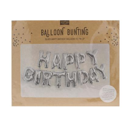 Party - Ginger Ray Silver Happy Birthday Foil Balloon Bunting - Image 2