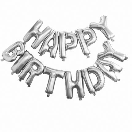 Party - Ginger Ray Silver Happy Birthday Foil Balloon Bunting - Image 3