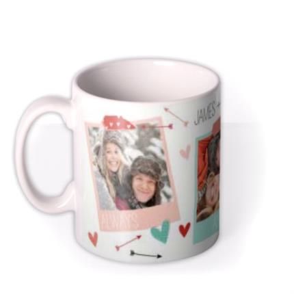 Mugs - Always and Forever Hearts and Arrows Photo Upload Mug - Image 1