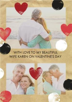 Greeting Cards - Hearts And Spots With Love Personalised Photo Upload Valentine's Day Card - Image 1