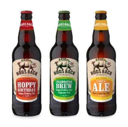 Alcohol Gifts - Exclusive Personalised Hogs Back Beer Trio - Image 1