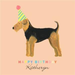 Greeting Cards - Airedale Dog Illustration Personalised Birthday Card - Image 1