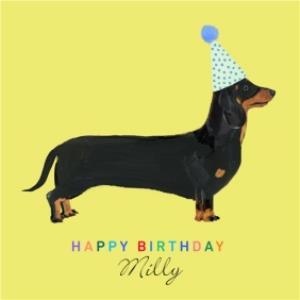 Dachshund Dog Illustration Personalised Birthday Card