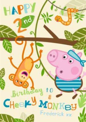 Peppa Pig Cheeky Monkey Personalised Happy Birthday Card