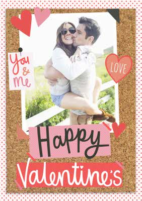 Greeting Cards - Pinboard You & Me Valentines Photo Upload Card - Image 1