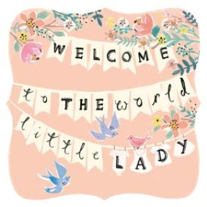 c067b4764 Welcome To The World Little Lady Bunting Personalised New Baby Girl Card