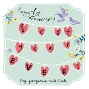 Greeting Cards - Best Year Ever Bunting Personalised Happy 1st Anniversary Card - Image 1