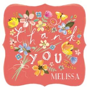 Greeting Cards - A Bunch Of Flowers And Butterflies Personalised Thank You Card - Image 1