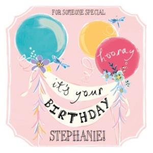 Greeting Cards - Hooray, Its Your Birthday Personalised Name Card - For Someone Special - Image 1