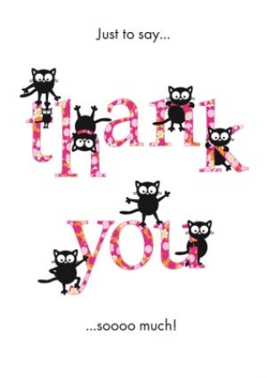 Greeting Cards - Little Cats Just To Say Personalised Thank You Card - Image 1
